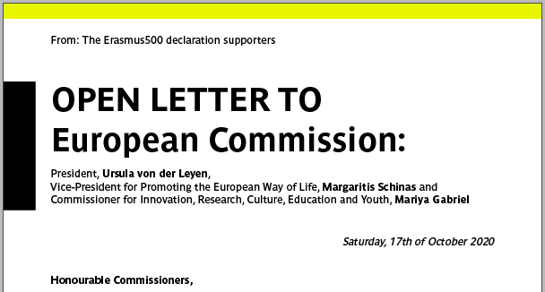 Open Letter to the European Commission